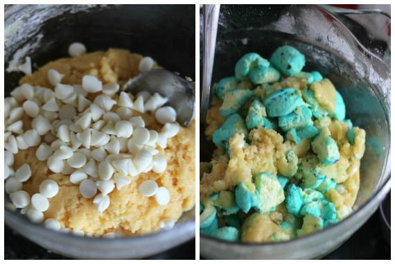 Cake mix with marshmallows and peeps in a bowl