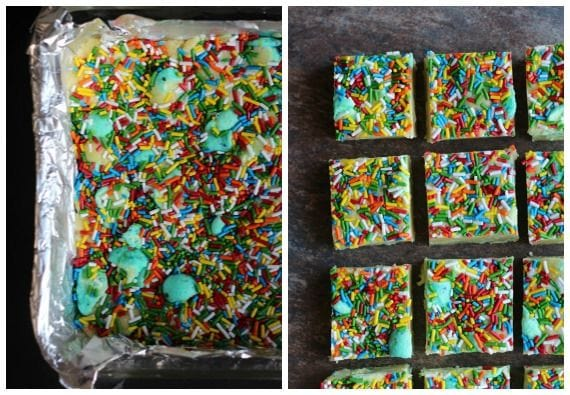 Top view of Peeps Cake Batter Candy bars cut into squares