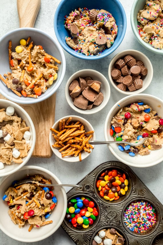 Bowls of mix-ins for cookies
