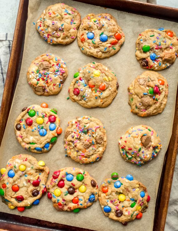 The Perfect Cookie Base Cookies with different versions on a cookie tray