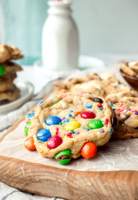 Basic Cookie Dough baked with M&Ms added in