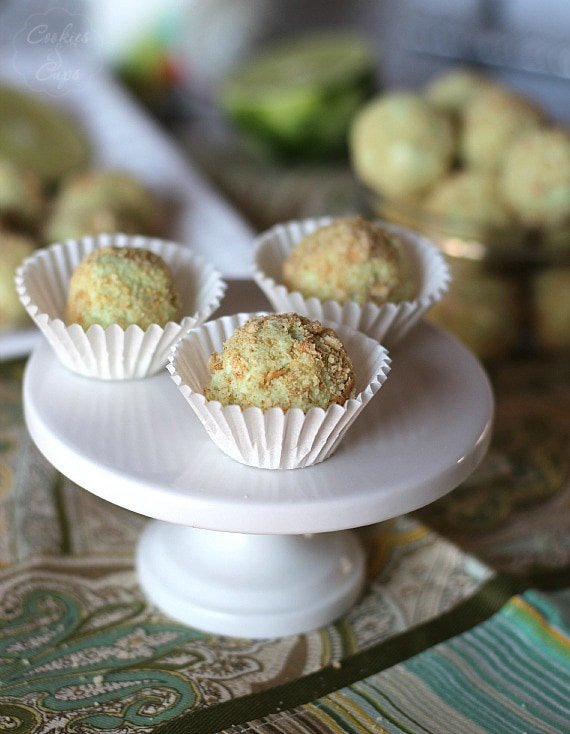 Image of Key Lime Pie Truffles on a Cake Stand