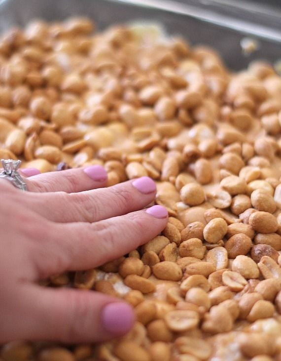 Peanuts being added to a 9x13 pan of peanut and butterscotch mixture