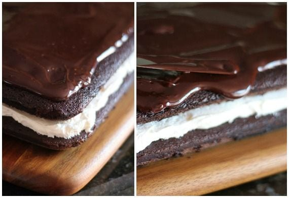Collage of chocolate whoopie pie cake topped with chocolate ganache