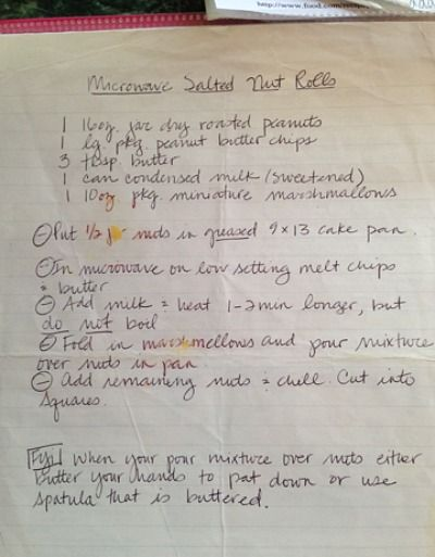 Hand-written recipe for Microwave Salted Nut Rolls