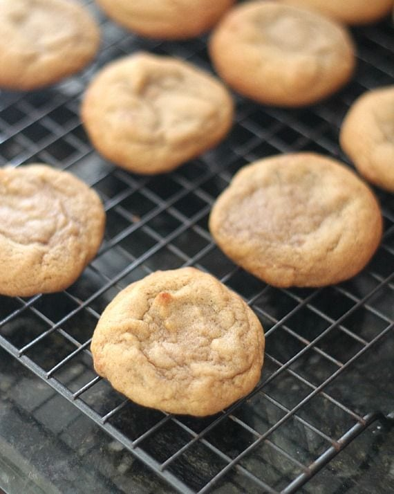 Round vanilla cookies on a cooling rack