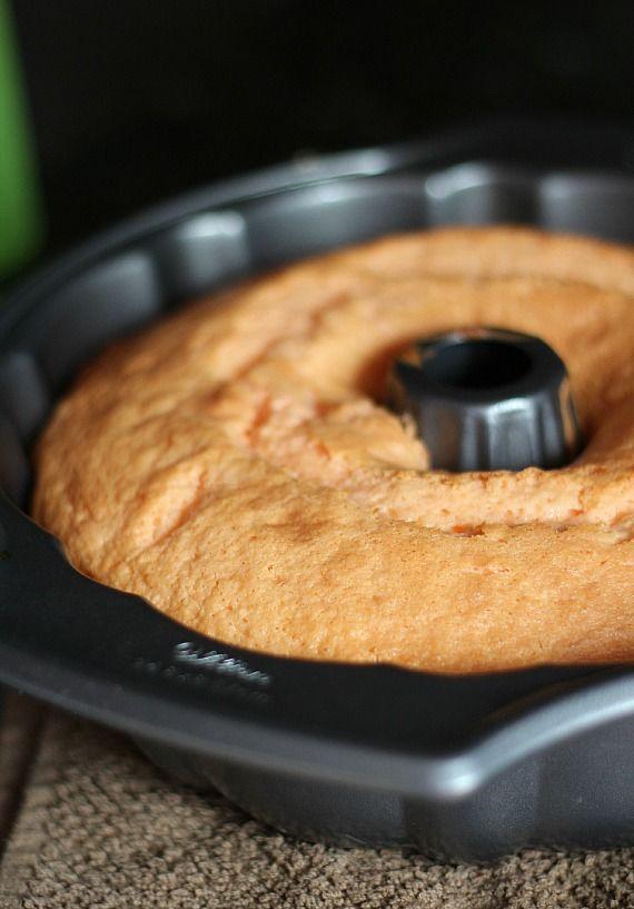 Baked orange cake in a bundt pan