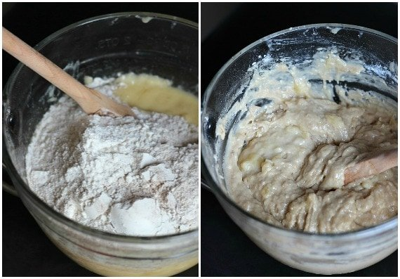 A collage of two photos of banana bread batter