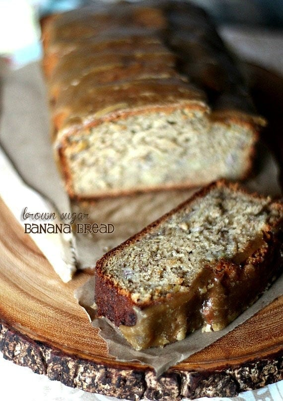 Brown Sugar Banana Bread with Brown Sugar Glaze | Cookies and Cups