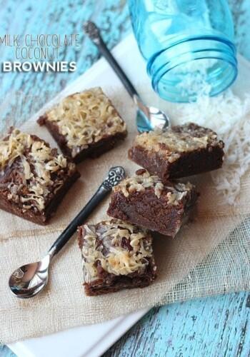 Milk Chocolate Coconut Brownies | Cookies and Cups