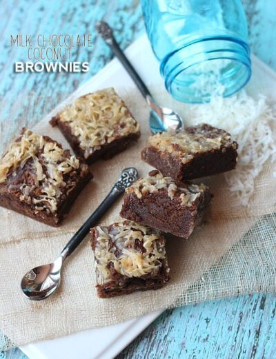 Milk Chocolate Coconut Brownies   Cookies and Cups