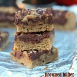 Browned Butter Nutella Swirled Blondies | Cookies and Cups