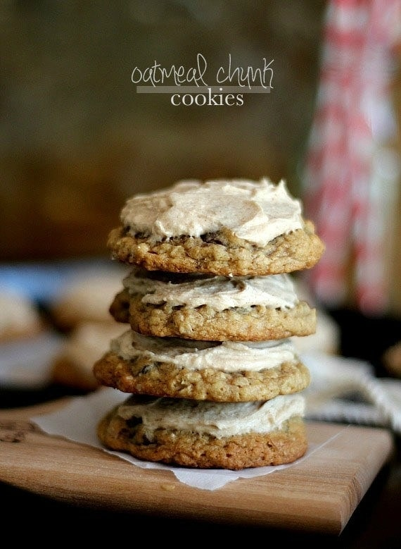 Oatmeal Chocolate Chunk Cookies with Cinnamon Buttercream   Cookies and Cups