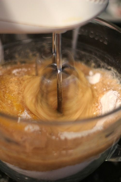 Whoopie pie batter being beaten with a mixer