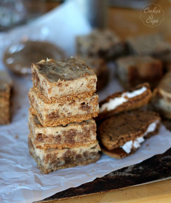 Oatmeal Cream Pie Cheesecake Bars   Cookies and Cups