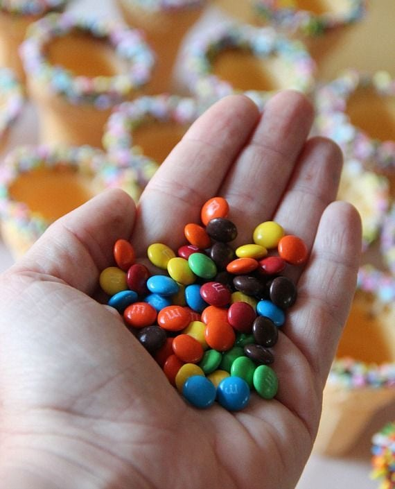 A hand full of M&M candies