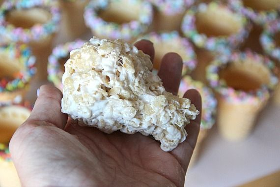 Rice krispie treat shaped to fit into an ice cream cone