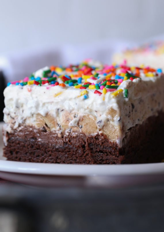 The BEST Ice Cream Cake ever is Brownie Bottom Ice Cream Cake!