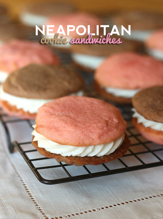 Neapolitan Cookie Sandwich   Cookies and Cups