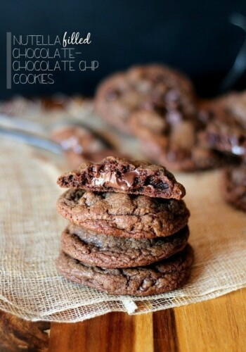 Nutella Filled Chocolate Chocolate Chip Cookies | Cookies and Cups