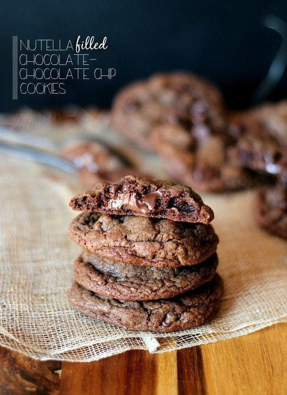 Nutella Filled Chocolate Chocolate Chip Cookies   Cookies and Cups