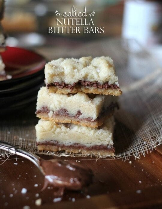 Salted Nutella Butter Bars   Cookies and Cups