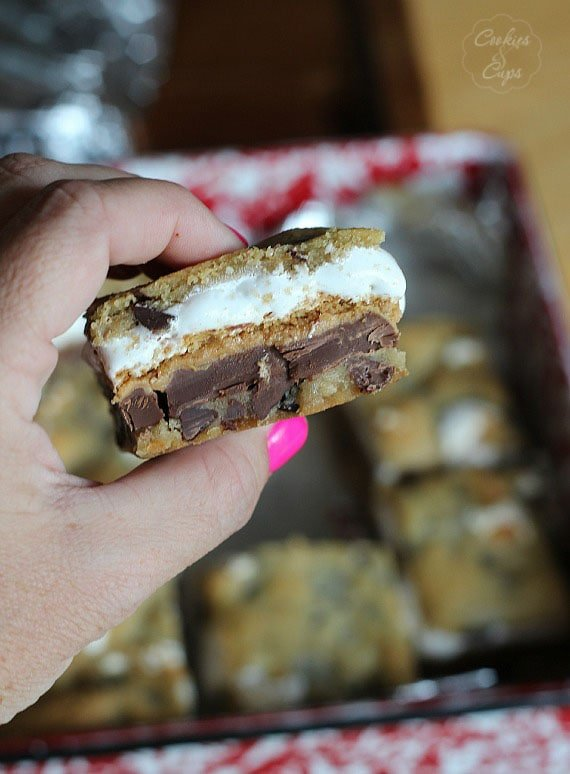 Chocolate Chip Cookie Peanut Butter S'mores Bars | Cookies and Cups