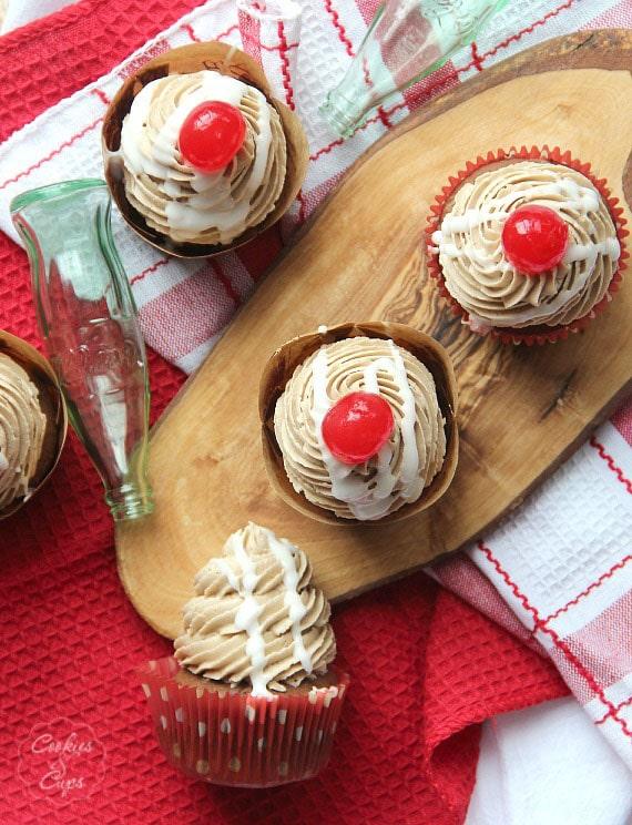 Coke Float Cupcakes | cookiesandcups.com | #cupcakes #cocacola #recipe #baking