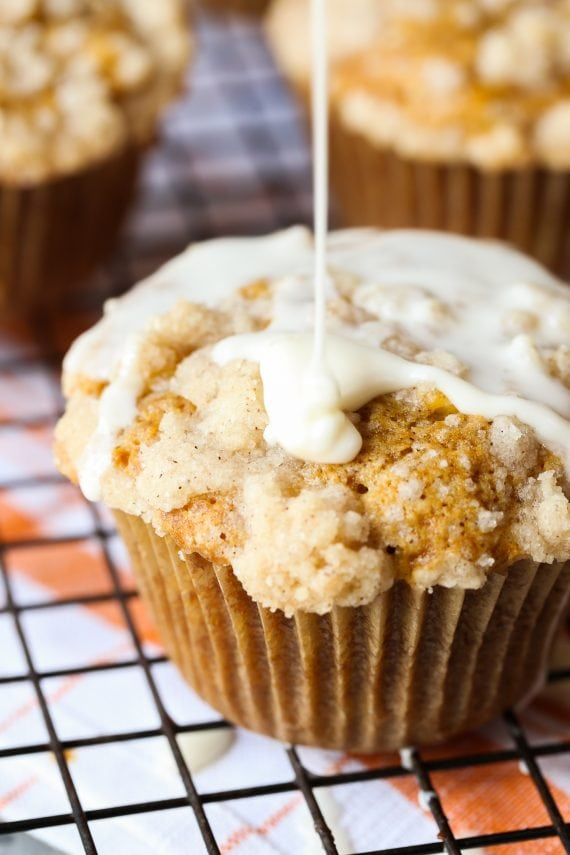 Pumpkin Apple Muffins are the perfect combination of fall! Sweet, soft and topped with a buttery streusel, these are a FAVORITE!