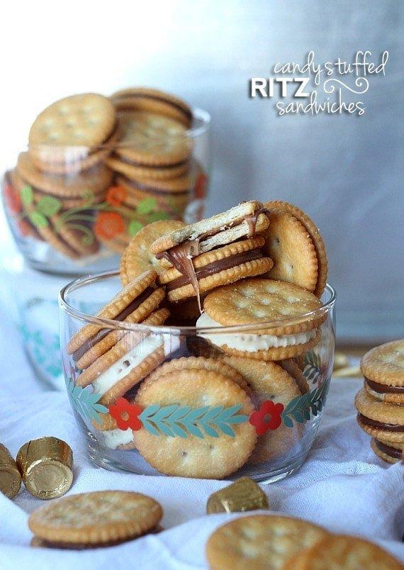 Candy Stuffed Ritz Sandwiches   www.cookiesandcups.com