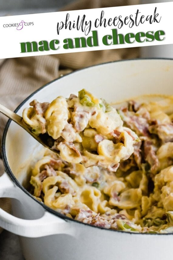 Philly Cheesesteak Mac and Cheese Pinterest Image