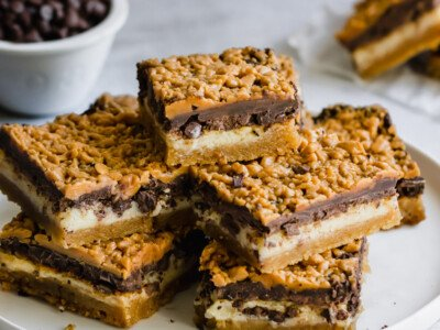 Plate of stacked chocolate cookie bars.