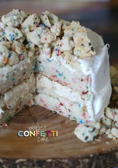 Perfect Homemade Confetti Cake www.cookiesandcups.com