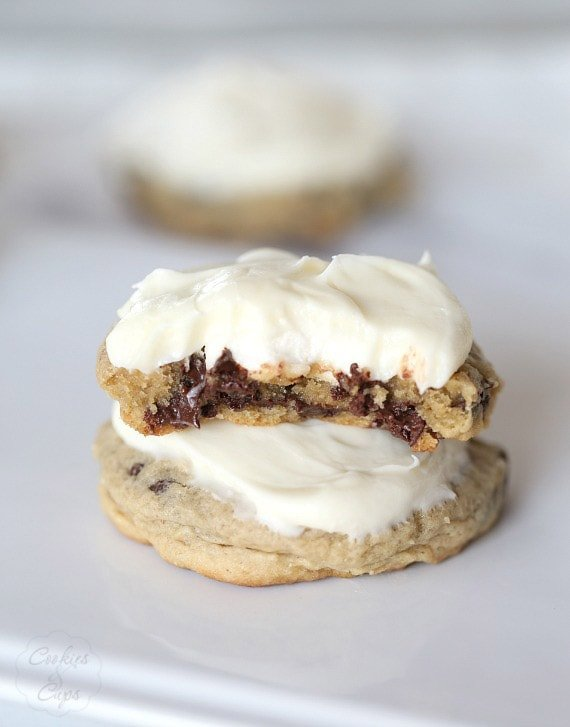 "Chocolate Chip Cream Cheese Marshmallow ""Surprise"" Cookies! These are so ooey-gooey delicious!"
