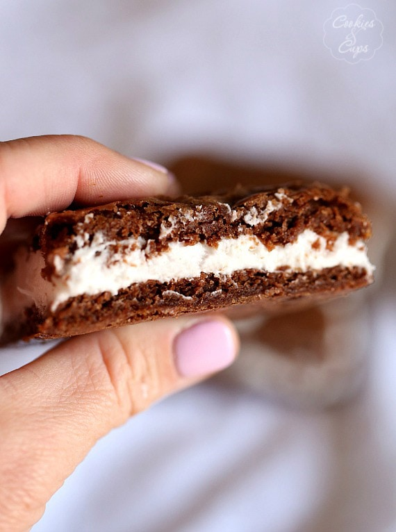 Oreo Cream Filled Brownies ~ SImple brownies filled with a thick layer of homemade Oreo cream!