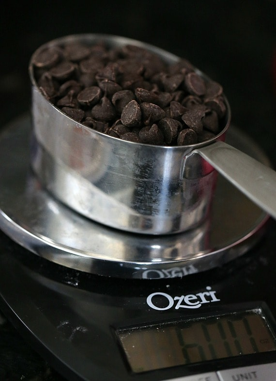 weighing chocolate chips on a food scale