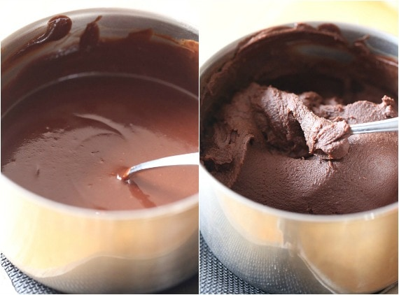 melted chocolate in a saucepan in liquid and solid forms collage