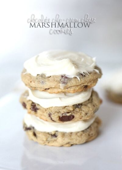 """Chocolate Chip Cream Cheese Marshmallow """"Surprise"""" Cookies! These are so ooey-gooey delicious!"""
