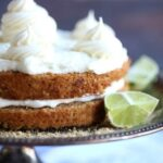 Image of a double layer key lime pie cake with key lime buttercream frosting