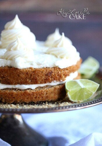 Key Lime Pie Cake ~ A Graham Cracker Cake filled and topped with the most delicious Key Lime Buttercream Frosting!