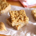 A Stack of Two No Bake Peanut Butter Oat Squares