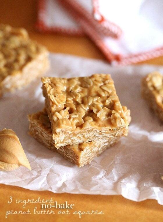3 Ingredient No Bake Peanut Butter Oat Squares