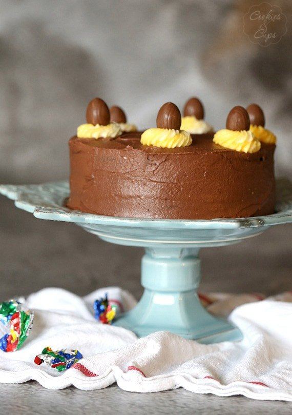 Cadbury Egg Cake. A simple cake with a yellow and white filling to look like the favorite Easter Candy
