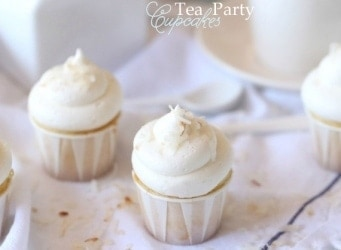 Tea Party Cupcakes ~ Almond Cupcakes with Coconut Frosting