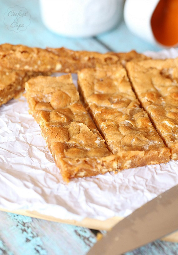 Marshmallow Blondies ~ These are a gooey butterscotch blondie with white chocolate chips and chewy melted marshmallows baked right in.. SO GOOD!