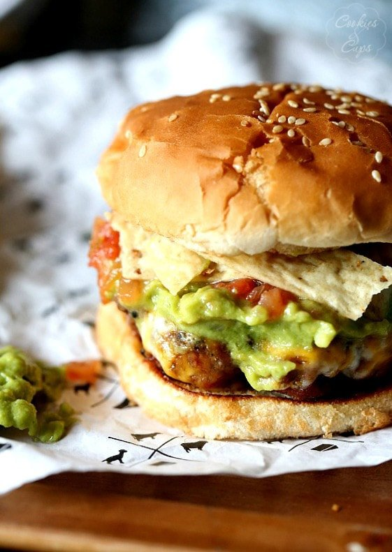 Taco BUrgers, Loaded with Guacamole, cheese, salsa and tortilla chips!
