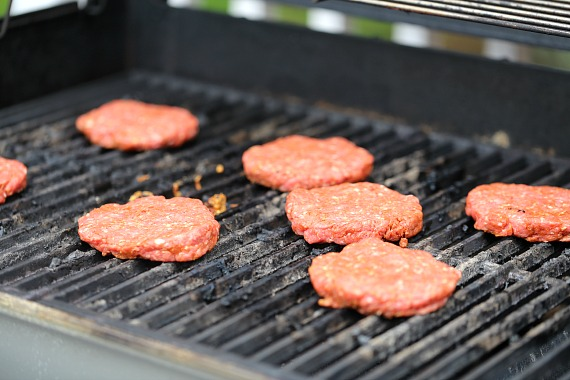 Grilling burgers on the grill