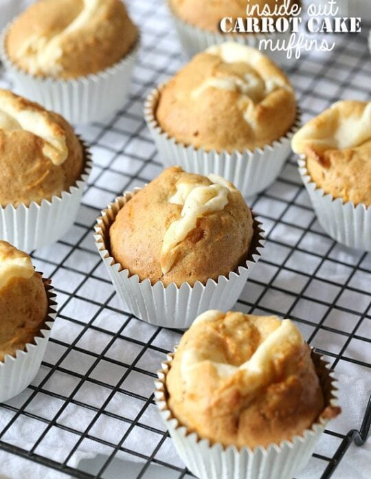 Inside Out Cake Cake Muffins ~ www.cookiesandcups.com