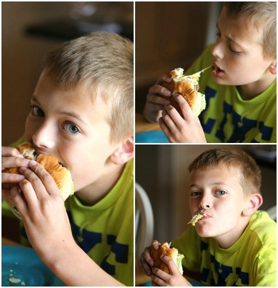 My kiddo LOVING his Taco burger