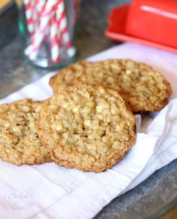 LOVE these Crispy Chewy Oatmeal cookies with white chocolate chips!